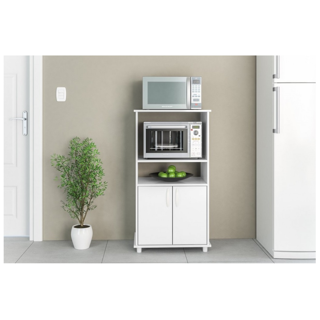 Mueble rack para horno y microondas blumenau en blanco for Muebles online uruguay