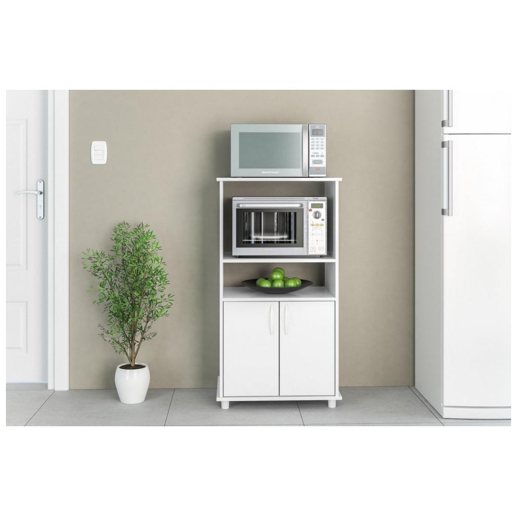 Mueble rack para horno y microondas blumenau en blanco for Muebles on line uruguay