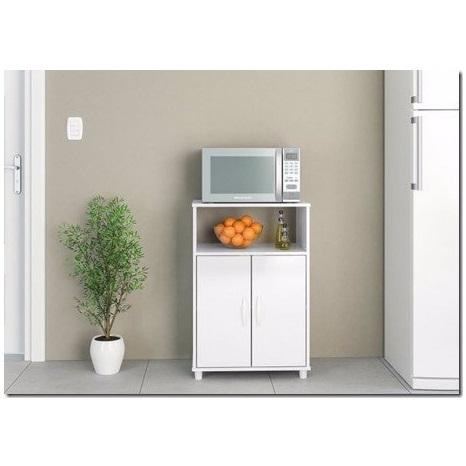 Mueble para microondas diadema en blanco con puertas para for Muebles online uruguay