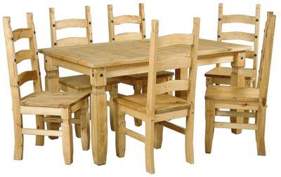 Juego de comedor de 6 sillas madera maciza e shop la for Muebles on line uruguay