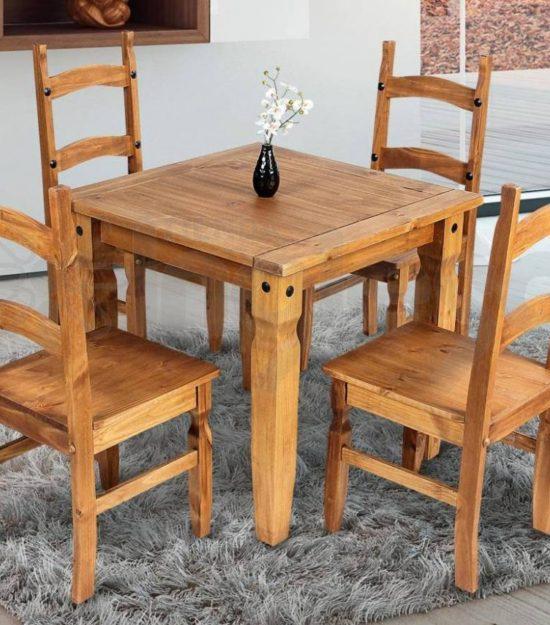 Juego de comedor de 4 sillas madera maciza e shop la for Juego de comedor de madera de 6 sillas
